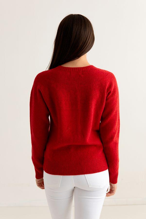 womens red gansey cardigan back