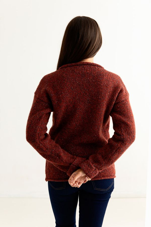 womens chunky jumper sweater red wool russet cuffed back