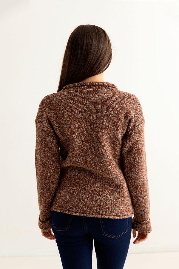 womens rust chunky wool jumper sweater autumn cuffed back