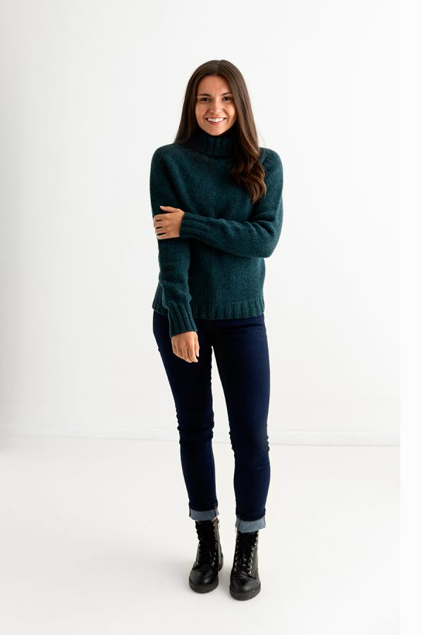womens teal chunky polo neck jumper sweater lambs wool full