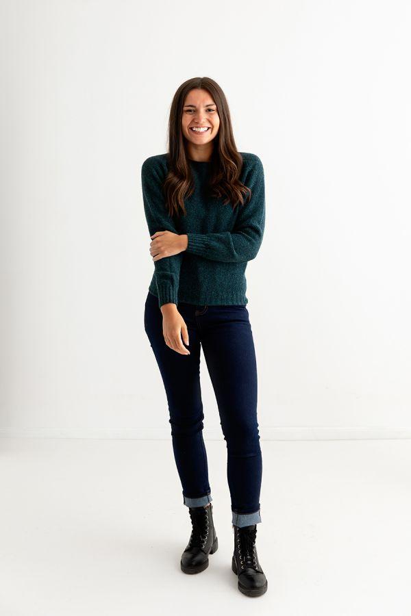 womens teal moss stitch jumper sweater lambs wool full