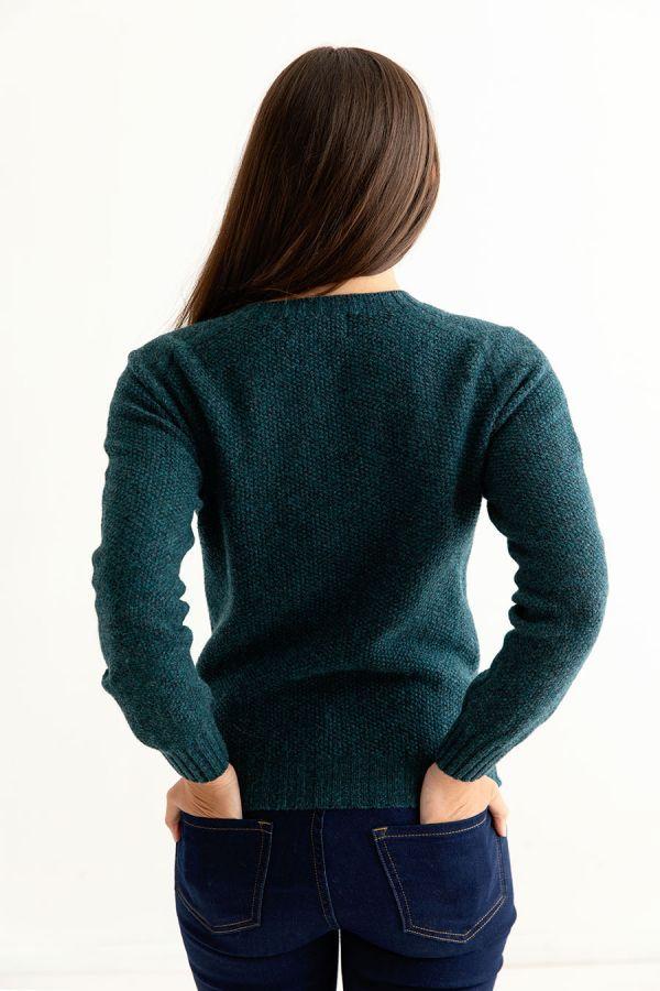 womens teal moss stitch lambs wool jumper sweater fine geelong back