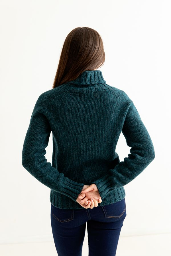 womens teal polo neck jumper sweater chunky lambs wool back