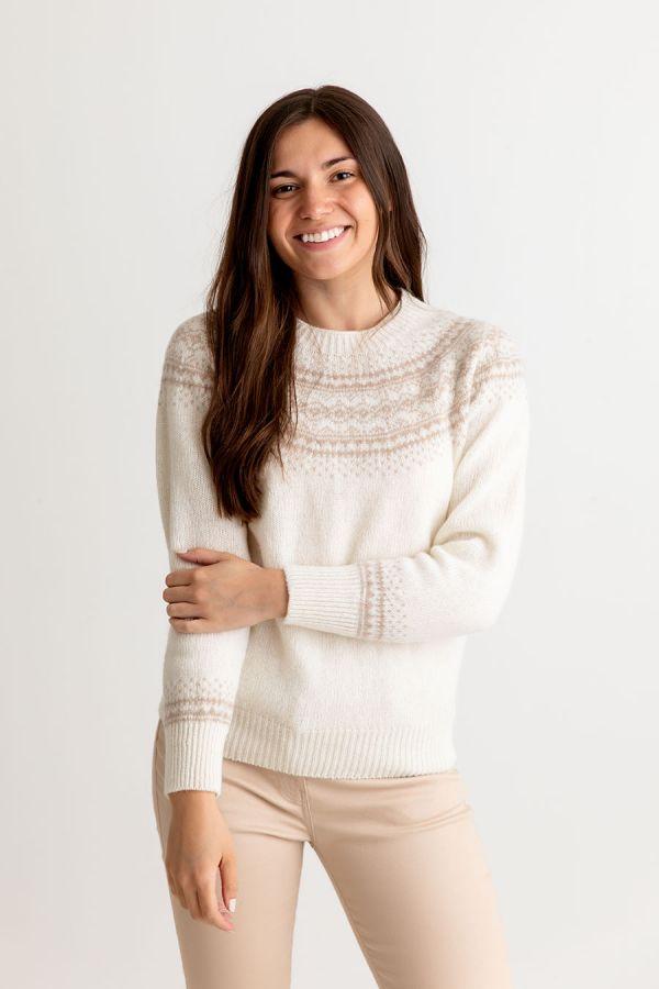 womens winter white wool fair isle jumper sweater aviemore yoke