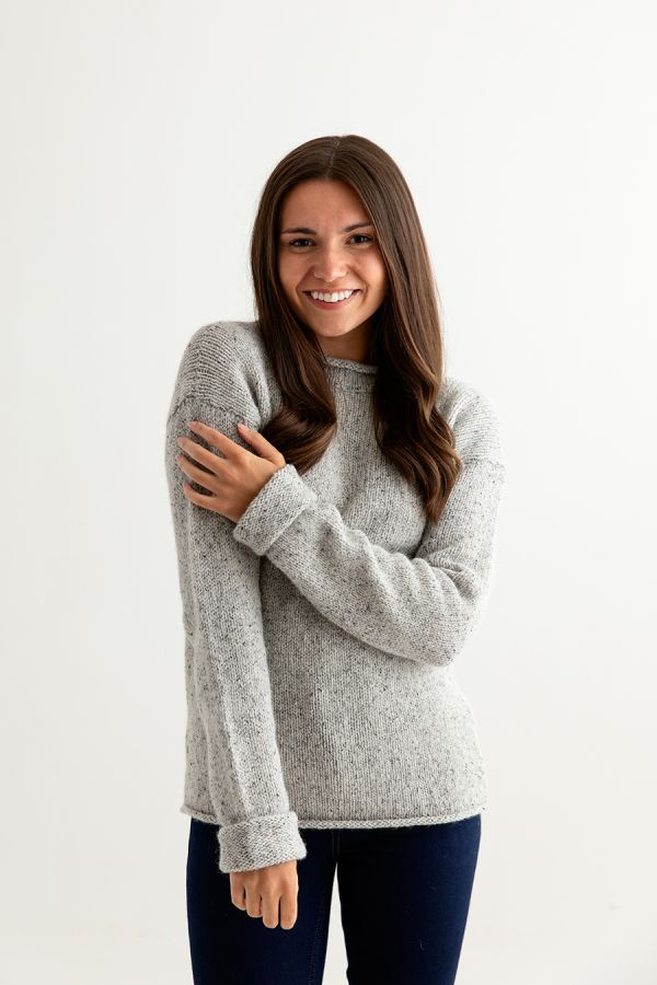 womens chunky wool jumper sweater light grey cuffed ladies front