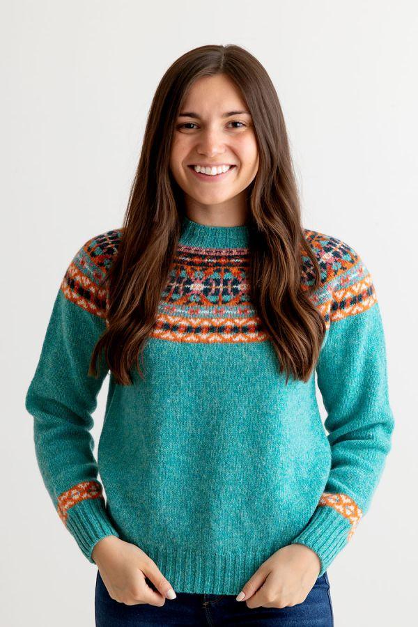 womens wool fair isle jumper aqua orange festival yoke sweater