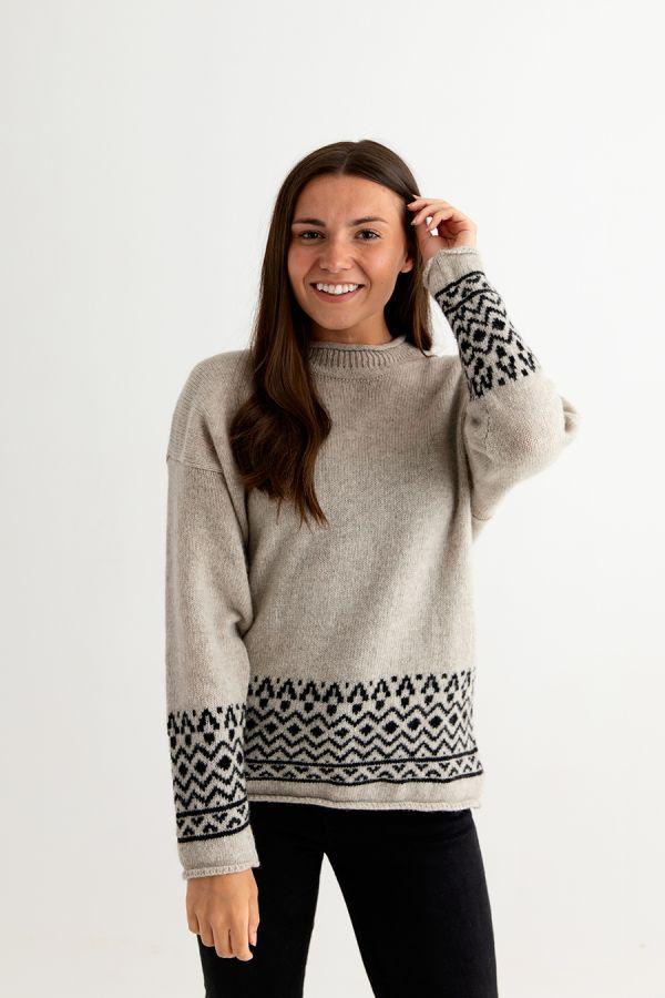 womens wool fair isle jumper sweater beige black braemar ladies front