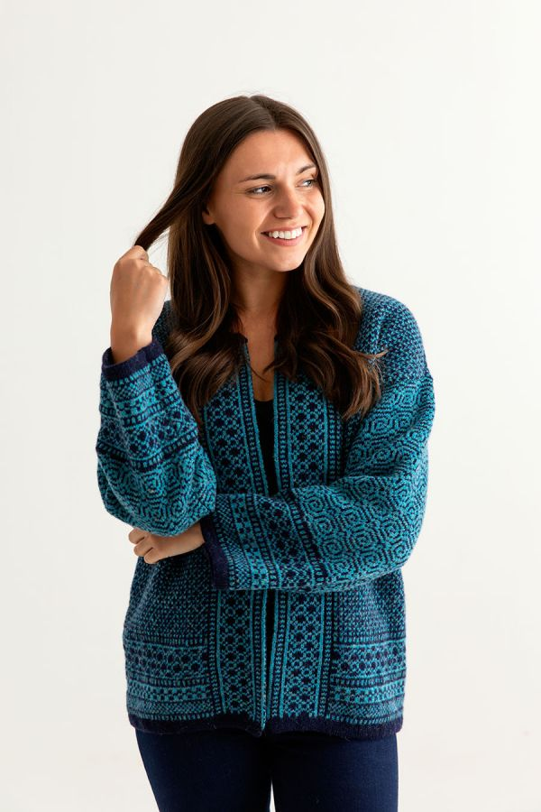 womens fair isle coatigan kimono cardigan navy blue teal wool towie