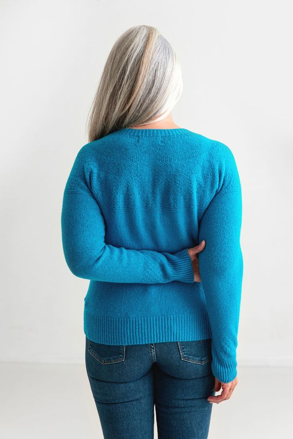 womens blue turquoise gansey guernsey cardigan