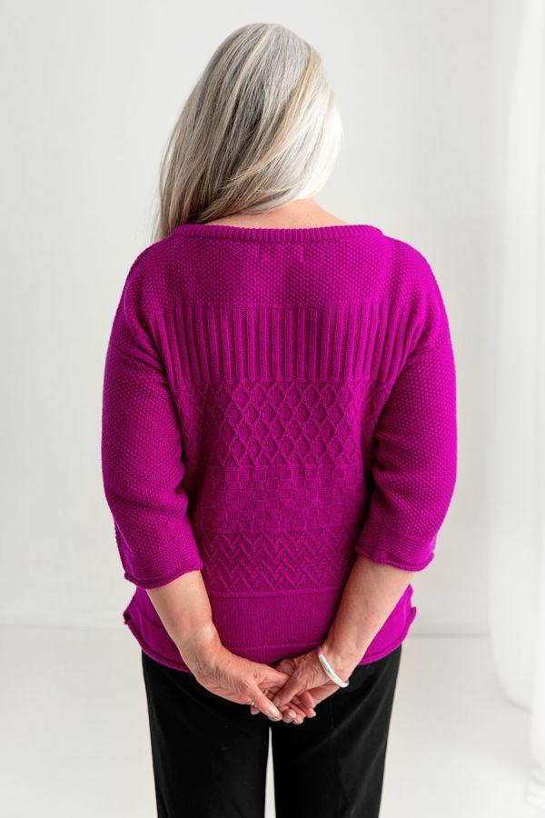womens fuchsia pink wool gansey guernsey jumper