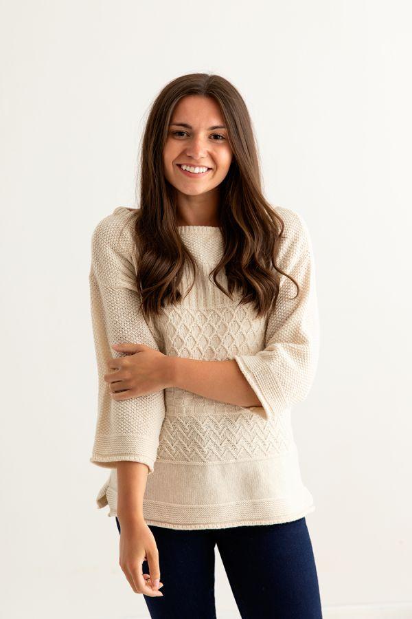 womens wool gansey guernsey jumper sweater almond fine geelong front
