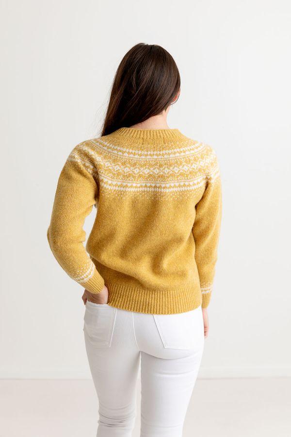 womens yellow aviemore yoke fair isle jumper sweater