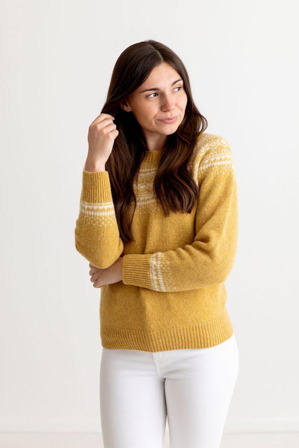 womens yellow fair isle jumper sweater shetland wool aviemore yoke