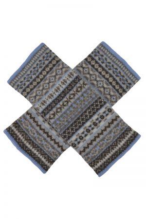 Tweed Fair isle wrist warmer fingerless gloves - Linen