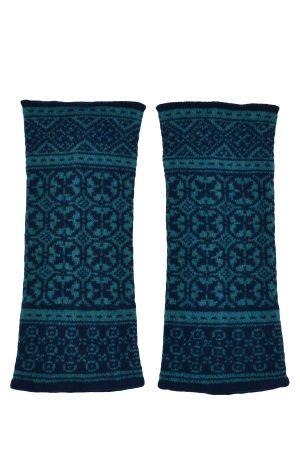Rubislaw Fair isle wrist warmer fingerless gloves - Marine
