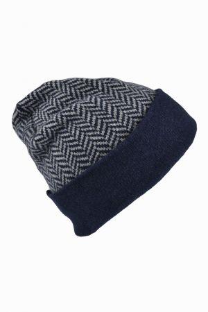 Herringbone Beanie Hat - Navy