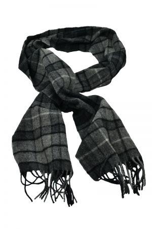 Scottish Lambswool Tartan Scarf - Grey Buchanan