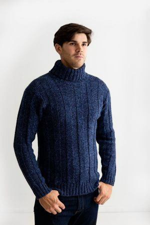 Mens Ribbed Polo Neck Jumper - blue