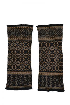 Rubislaw Fair isle wrist warmer fingerless gloves - Black