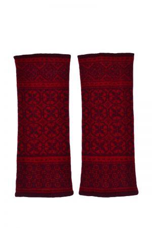 Rubislaw Fair isle wrist warmer fingerless gloves - Red