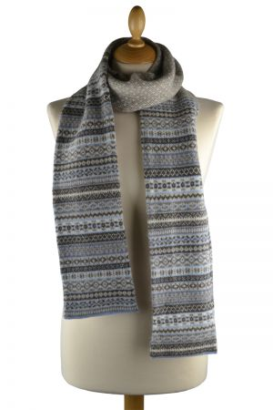 Tweed Fair isle scarf - Linen