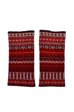 Ugie Fair isle wrist warmer fingerless gloves - Red