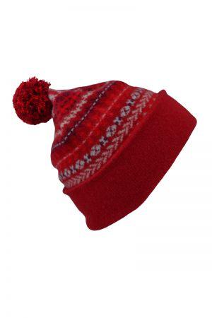 Ugie Fair isle Ski hat - Red