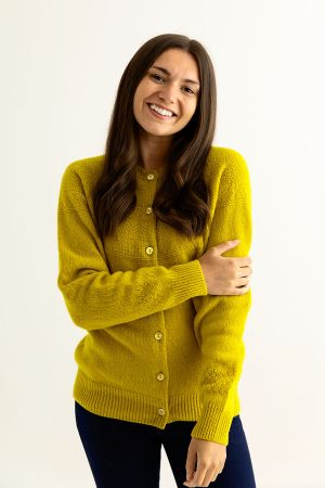 Womens Geelong Superfine Lambswool Gansey Cardigan - Yellow
