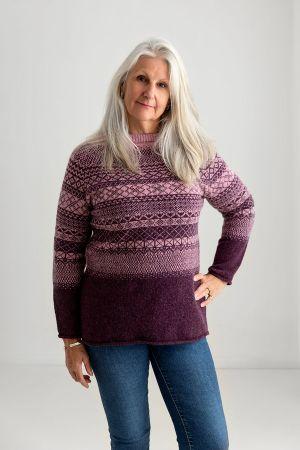 Womens Lace Fair Isle Tunic Jumper  - heather
