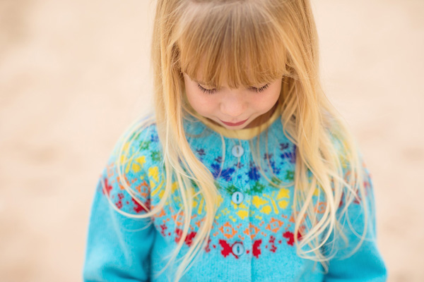 Girls Cardigan fair isle butterfly rainbow turquoise