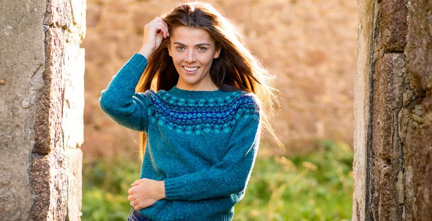Womens fair isle jumper teal wool croft yoke