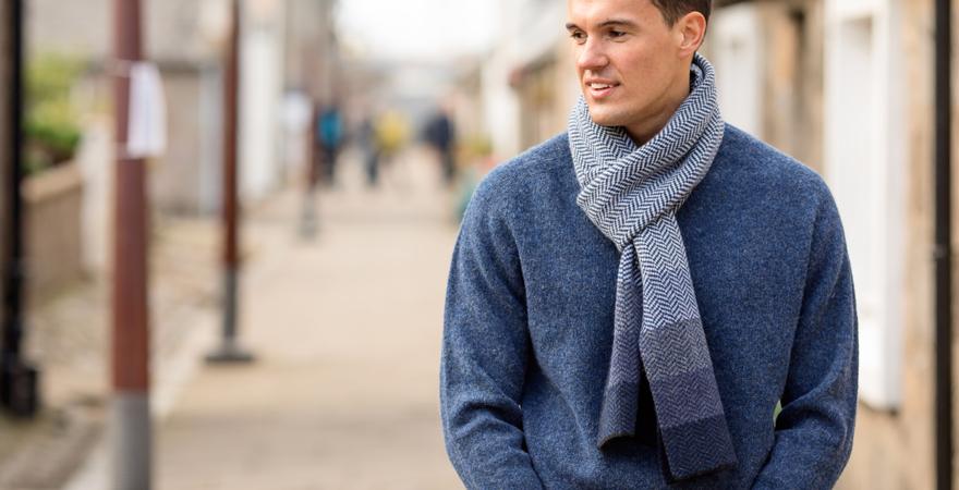 Mens scottish shetland wool jumper and herringbone scarf