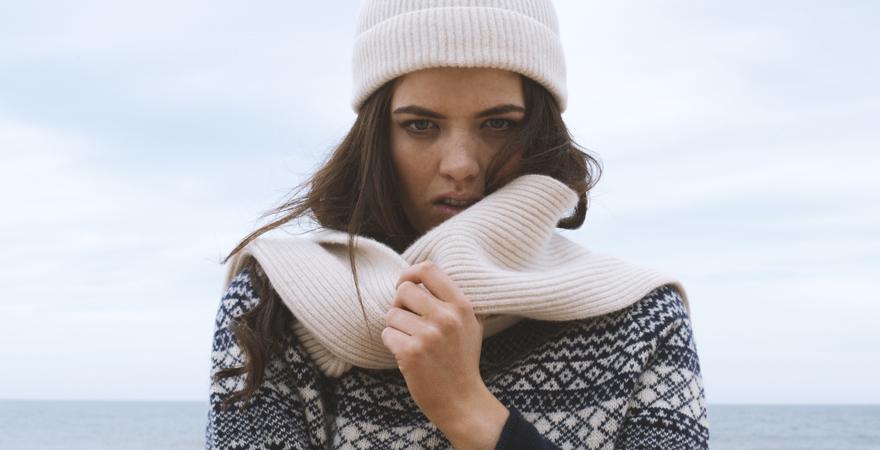 ladies fair isle jumper & scottish lambswool rib scarf