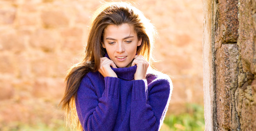 Womens purple polo neck jumper