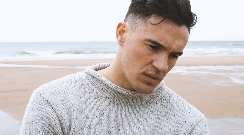 Mens chunky roll neck sweater light grey