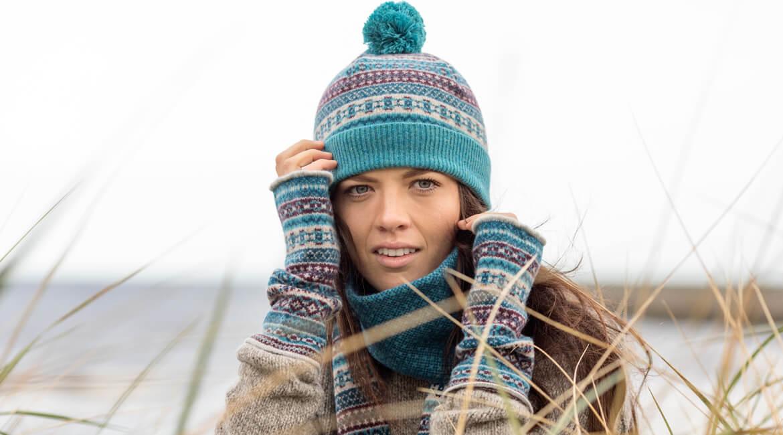 tweed fair isle accessories in teal