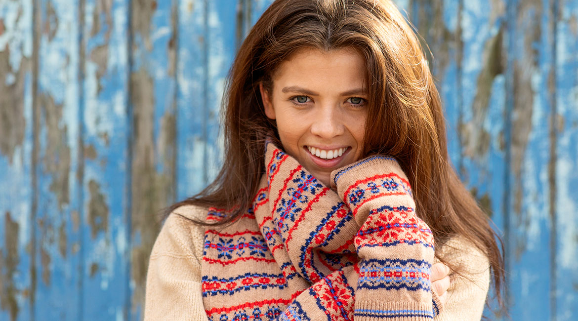 womens fair isle, wool and cashmere scarves and accessories