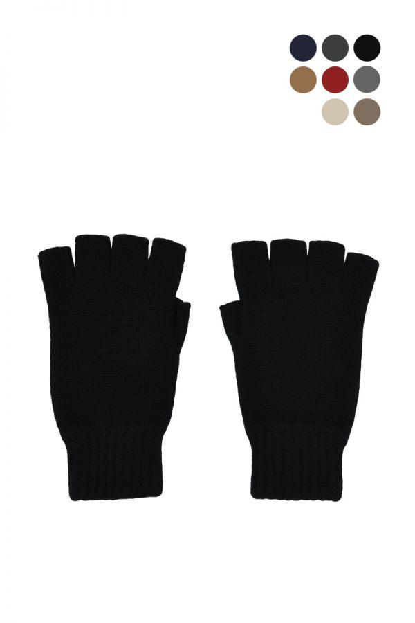 Scottish cashmere fingerless gloves. 8 colours
