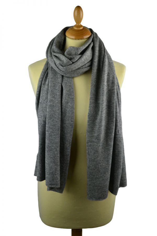 Scottish cashmere plain knitted stole - grey