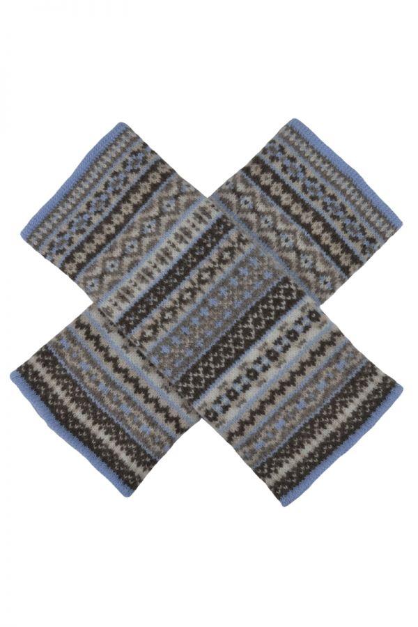 Fair isle wrist warmer gauntlet wristlet gloves. Linen. Scottish lambswool