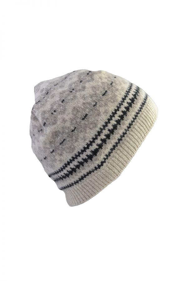 fair isle lambs wool beanie hat linen stockbridge
