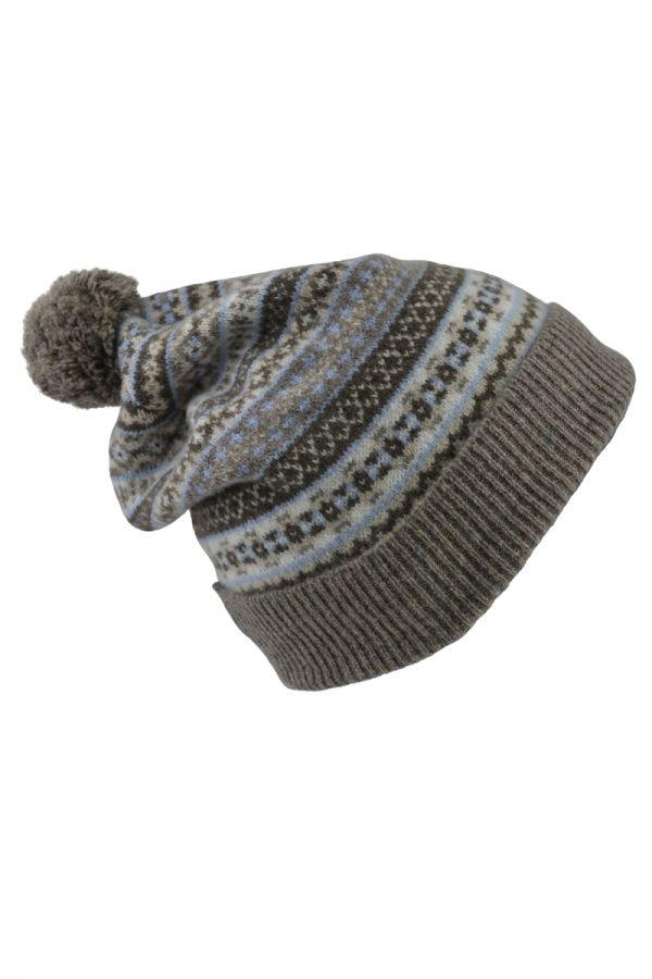Fair isle ski hat. Linen. Scottish lambswool