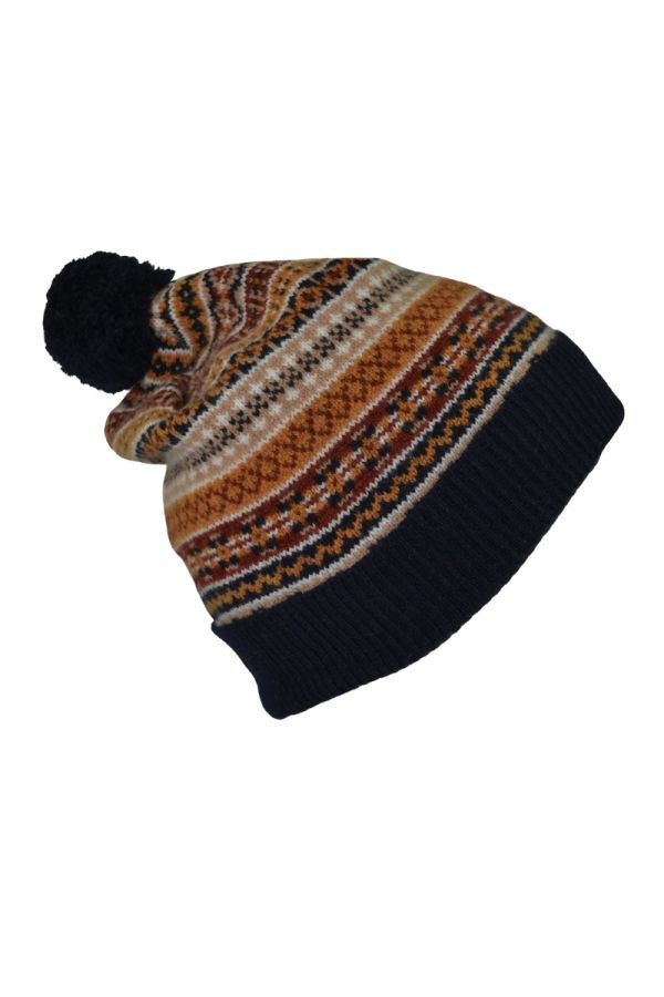 Fair isle ski hat. Navy Gold. Scottish lambswool