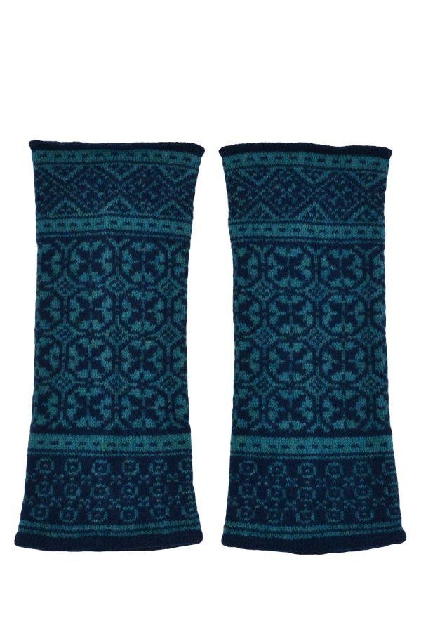 fair isle wrist warmer fingerless gloves teal navy blue rubislaw