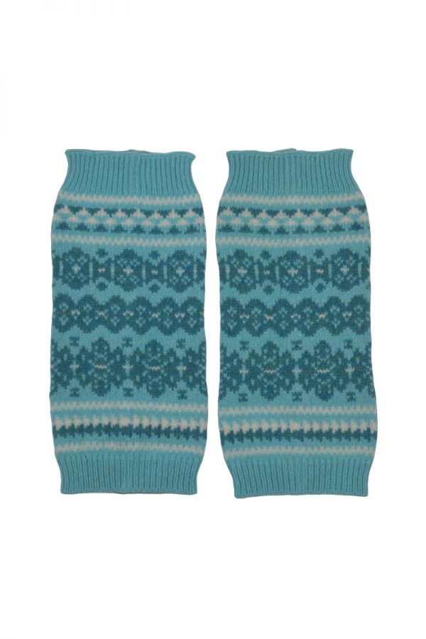 Fair isle fingerless gloves hand wrist warmers aqua Scottish lambs wool Stockbridge
