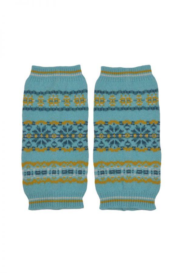Fair isle hand wrist warmer fingerless gloves aqua yellow lambs wool Scalloway