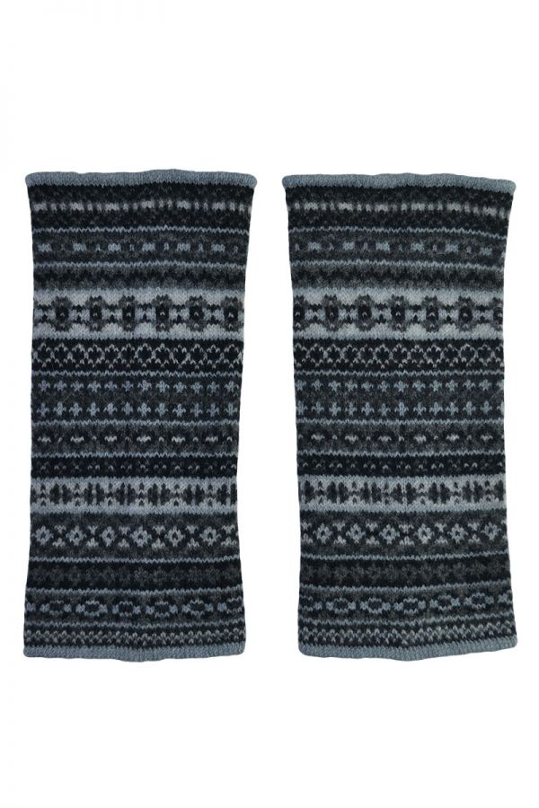 Fair isle wrist warmer gloves. black grey. lambs wool. fingerless hand warmers