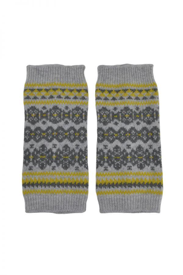 Fair isle fingerless gloves hand wrist warmers grey yellow Scottish lambs wool Stockbridge