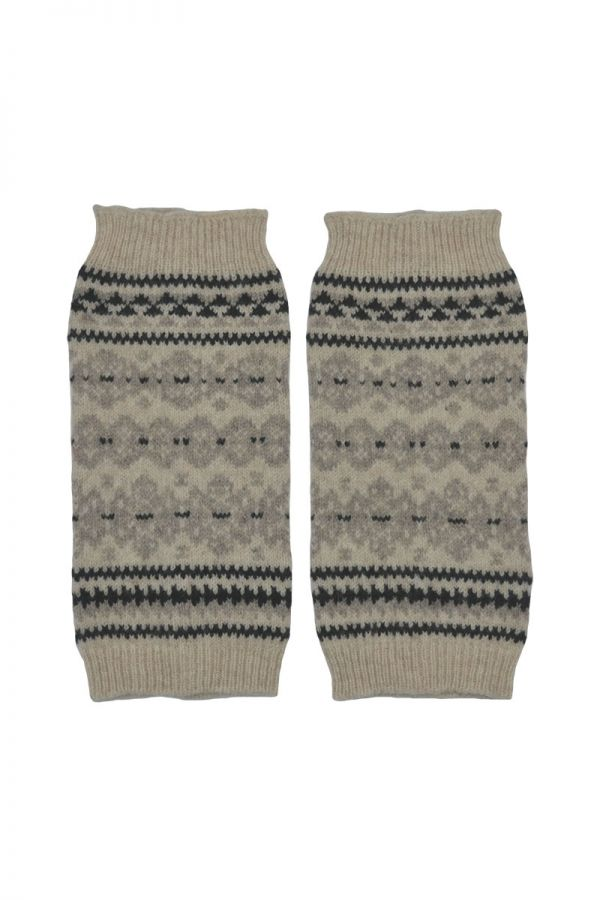 Fair isle fingerless gloves hand wrist warmers linen black Scottish lambs wool Stockbridge