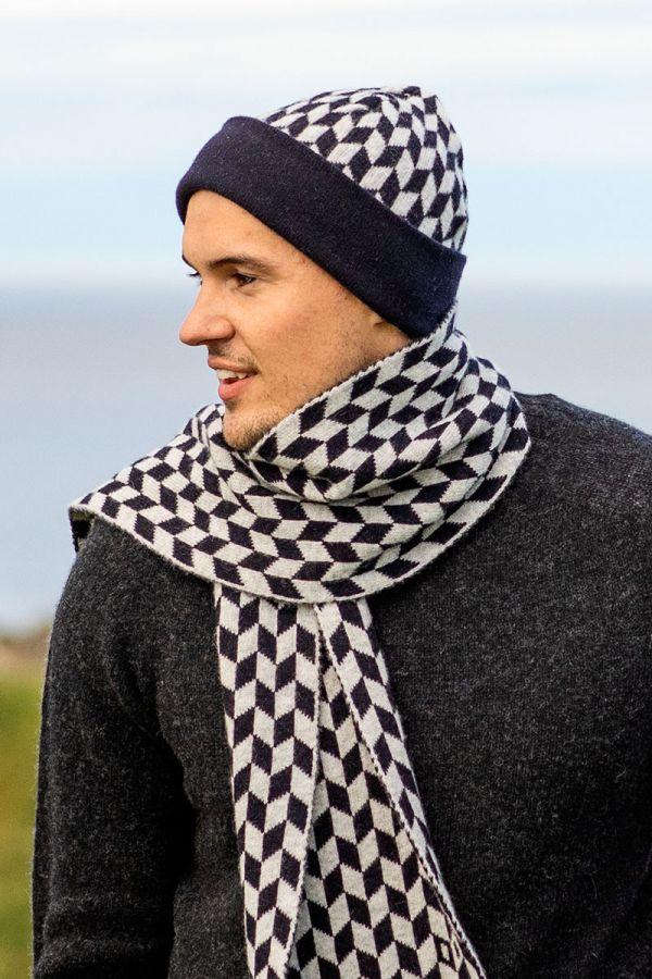 Lambs wool beanie hat Graphic Chevron navy blue grey